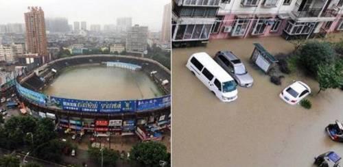 Сильный дождь наполнил водой чашу стадиона в Китае